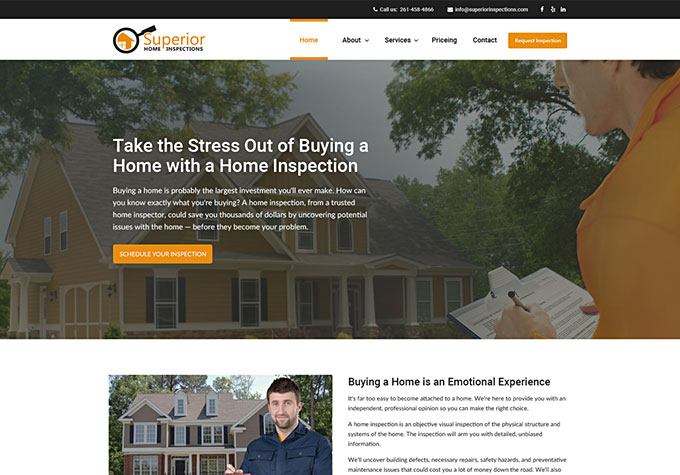 Professional Modern Personally Managed Websites For Home Inspectors