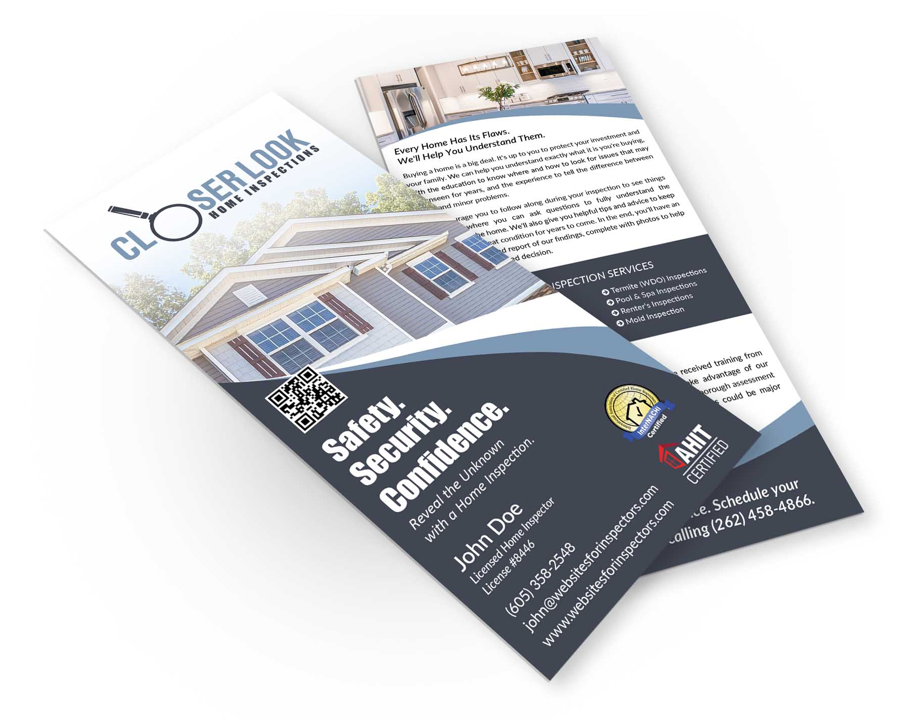 Professional rack cards for home inspectors from visual grace home inspector rack card design 3 colourmoves