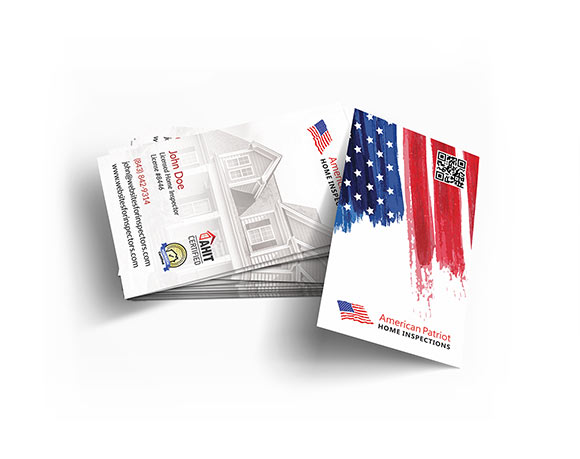 Professional businses cards for home inspectors.