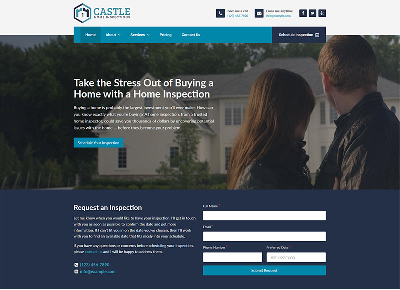 Home inspector website design: Buyer's Dream