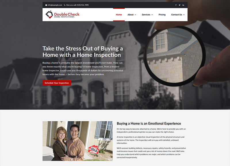Home inspector website design: Closer Look