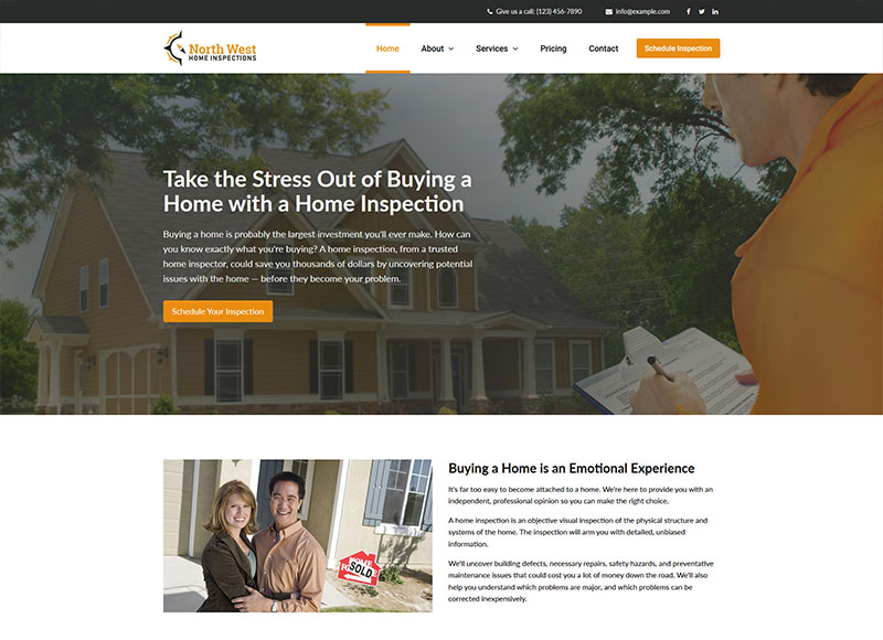 Home inspector website design: Eagle Eye