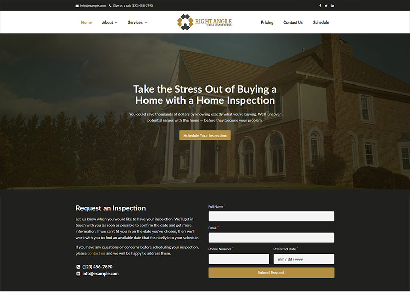 Home inspection website design: Mansion