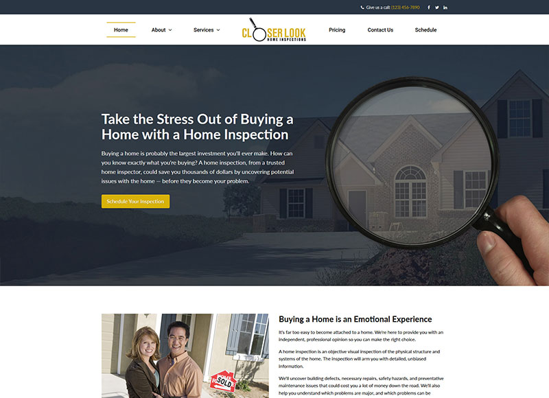 Home inspection website design: Peace of Mind