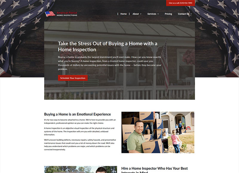 Home inspector website design: The Patriot