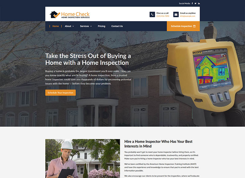 Home inspection website design: Thermal